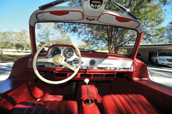 The view from the inside of a 1955 Mercedes-Benz 300SL Coupe with its gullwing doors open. The car is one of many headed to auction in early March on Amelia Island, Fla. It's expected to sell for $1 - $1.25 million.