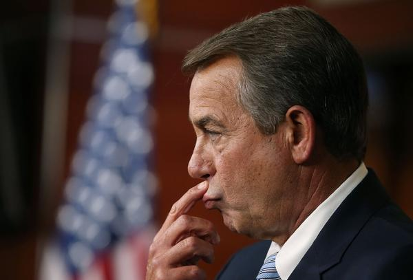 Speaker of the House John A. Boehner (R-Ohio) speaks to the media during his weekly news conference Tuesday on Capitol Hill.