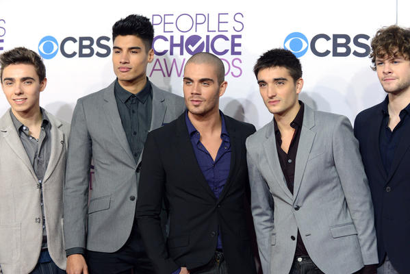 Members of the musical group The Wanted, from left, Nathan Sykes, Siva Kaneswaran, Max George, Tom Parker and Jay McGuiness at the People's Choice Awards in Los Angeles.