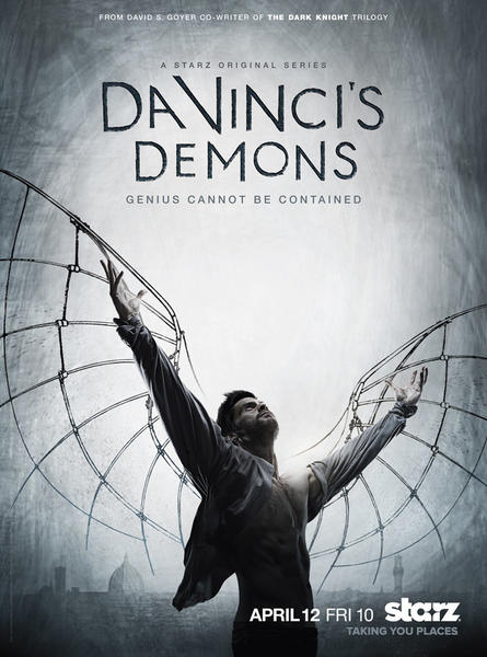 "Leonardo Da Vinci and his flying machine from ""Da Vinci's Demons"" on Starz."
