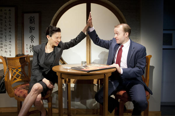 "Michelle Krusiec and Alex Moggridge in South Coast Repertory's 2012 production of ""Chinglish"" by David Henry Hwang."