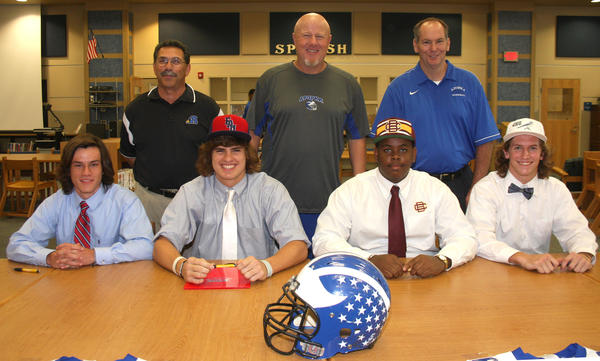 On National Signing Day, Apopka High School athlete Trey Hendrickson commits to Florida Atlantic; Dazzie Morris to Bethune-Cookman; Garrett Spekto Johns Hopkins; and Brett Wilson to Presbyterian.