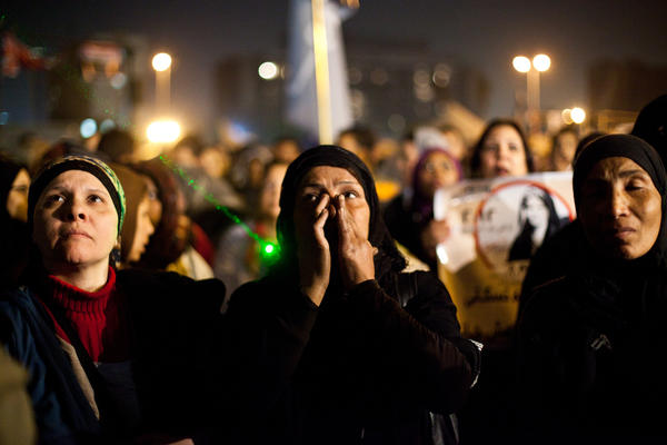 Egyptian women gather to denounce sexual violence and harassment against women in Cairo.