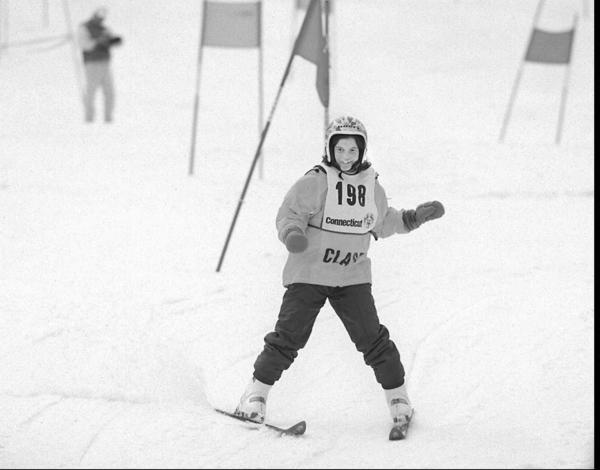 Amy Comis, of Westport, skis in the girl's novice slalom in the Connecticut Special Olympics 1995 Winter Games at Power Ridge ski area.