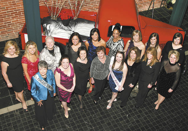 Former Miss Washington County and Miss Western Maryland titleholders gathered for a reunion reception Feb. 18, 2012. Front row, from left, Betty Gray Easterday (1950), Amanda Hartman Herold (1999), Alaina Rowe Winman (2004), Mary Klick Robinson (1948), Hannah Mollerick (2011), Melanie Knox Combs-Dyer (1985), Diane Subleski Openshaw (1988) and Leanne Carson Allen (1991). Back row, Karissa Jones Horowicz (1993/1994), Mary King (2009/2010), Alice Remsburg Deitz (1961), Stacy Miller (2003), Whitney Colombo (2007/2009), Robin Harmon (1976/1981), Carrie Shank Aaron (2006), Sara Duncan (2007) and Nikki Gouker Rudy (2002). Not pictured: Julie LaPole Cathor (1997/2000) and Rachel Ellsworth Jacovino (2005). Three of the local titleholders went on to become Miss Maryland, including Harmon, Horowicz and Jacovino.
