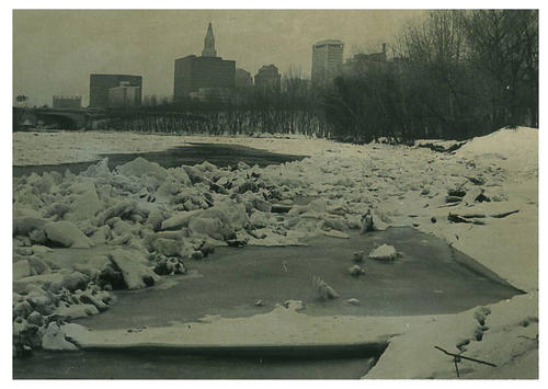 With downtown Hartford in the background, ice comes over the Connecticut River.