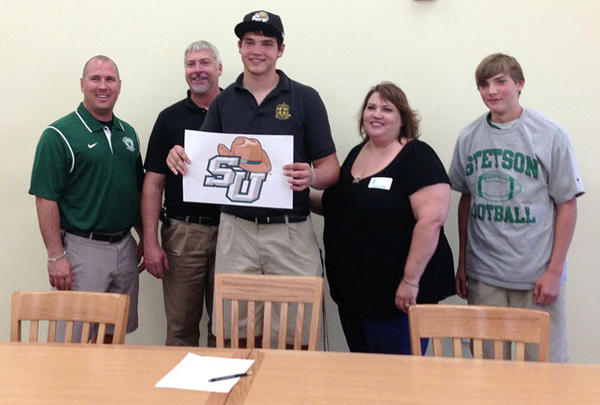 Father Lopez football player Jake Ohlwein signs with Stetson University.