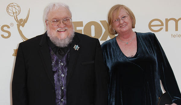 George R.R. Martin and his wife, Parris, at the 2011 Emmy Awards.