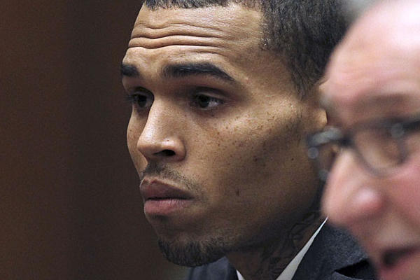 Chris Brown in court with attorney Mark Geragos on Wednesday.