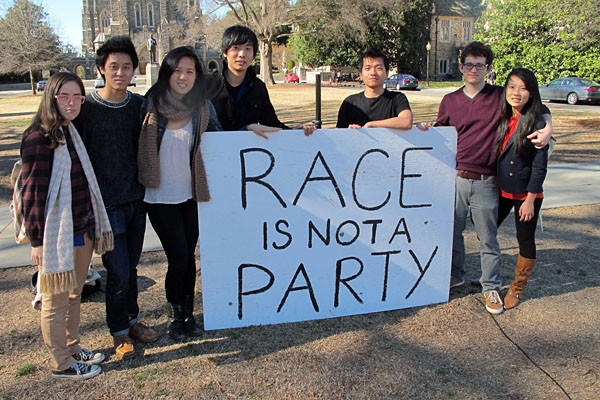 Students at Duke University rally in response to a campus fraternity party that mocked Asians.