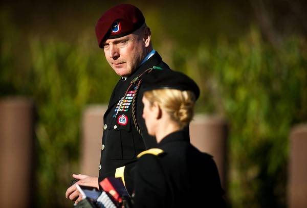 Army Brig. Gen. Jeffrey A. Sinclair leaves a Ft. Bragg, N.C., courthouse with a member of his defense team, Maj. Elizabeth Ramsey, last month.