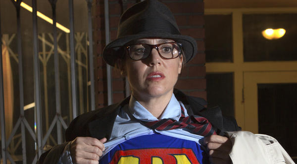 "Petra Haden as Superman from her new ""Petra Goes to the Movies"" album."