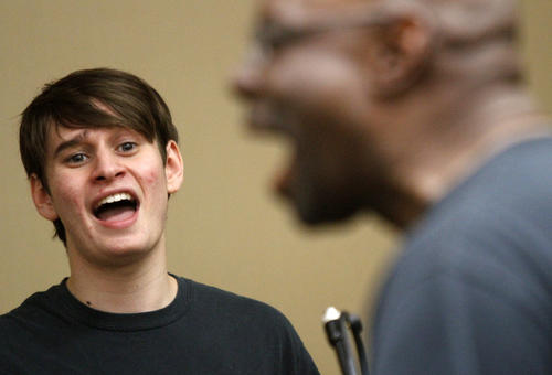 Nathan Heldman, a tenor from Los Angeles, trains for the choir under the guidance of Ronald McCurdy, foreground, at Grammy Camp -- Jazz Session.