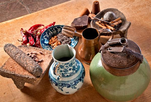 "Items related to the consumption of chocolate are on display in the new exhibit, ""New World Cuisine: The Histories of Chocolate, Mate y Mas,"" at the Museum of International Folk Art in Santa Fe, N.M."