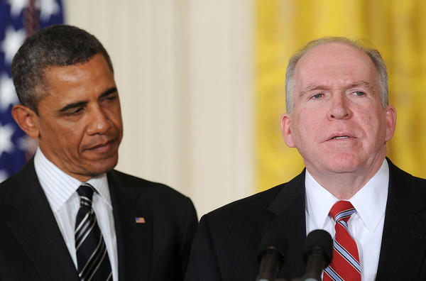 Counterterrorism advisor John Brennan, right, is nominated to be Director of the CIA by President Obama at the White House.