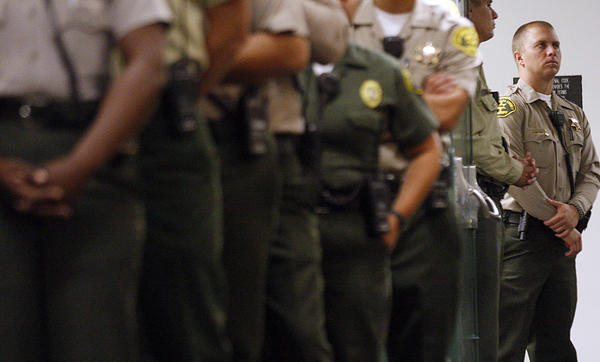 Sheriff's deputies staff the Men's Central Jail in downtown Los Angeles.