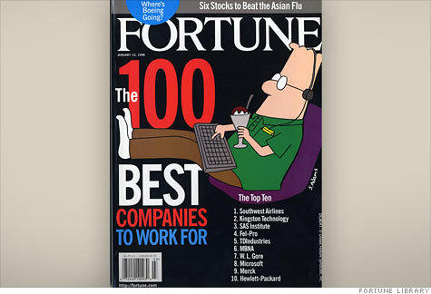 Southwest Airlines is named best company to work for by Fortune magazine in 1998.