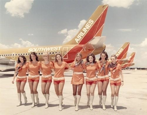 Southwest Airlines outfitted its flight attendants in hot pants in the early 1970s.