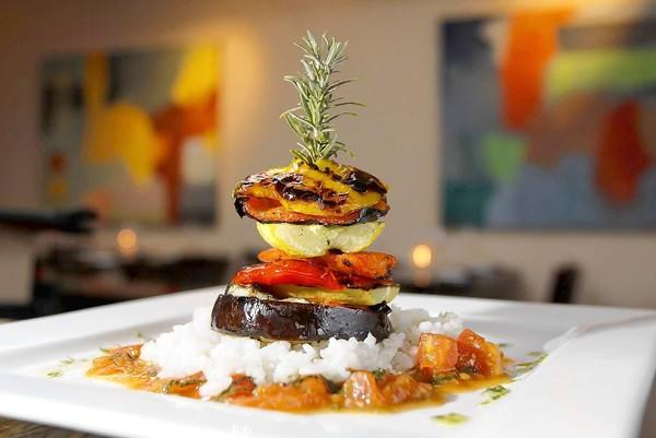 The veggie tower is a colorful and tasty appetizer at the new reMark's in Laguna Canyon.