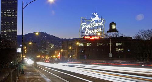 Vehicle lights create streaks over Burnside Bridge in Portland, Ore.