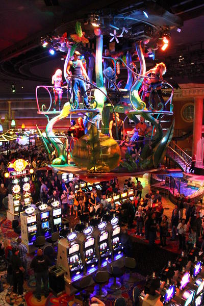 Every night is Mardi Gras at the Show in the Sky attraction at the Rio resort.