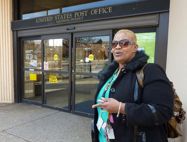 Keesha Johnson, at the United States Post Office - Baltimore District, responds to the Post Office's plan to cut delivery to 5 days a week.