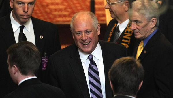 Illinois Gov. Pat Quinn exits the House of Representatives after his State of the State Address in the Capitol Building in Springfield.