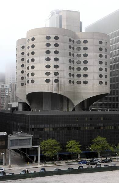 The old Prentice Women's Hospital in Chicago, designed by Marina City architect Bertrand Goldberg, features circular towers arranged in a four-leaf-clover pattern.