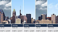 Cloudy skies and temperatures in the 30s are in the forecast Thursday in Baltimore as high pressure moves off the coast and two low pressure systems move toward the region, according to the National Weather Service.