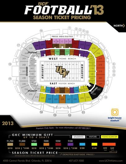 UCF season ticket chart