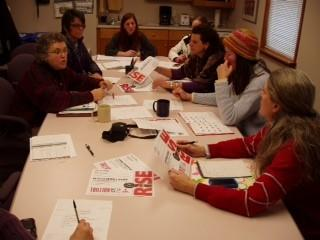A planning session at the Women's Resource Center in Petoskey is attended by representatives of area agencies and organizations as they launch a local One Billion Rising event that will coincide with the global effort on Thursday, Feb. 14. Helping plan the event are (from left) Jan Mancinelli, executive director of the Women's Resource Center of Northern Michigan; Mary Biagini, a local aerobics/Zumba instructor; Dar Charlebois, Women's Resource Center community prevention coordinator; Christi Roman, owner of Studio Health and Fitness in Petoskey; Wendy Fought, director of Student Outreach and Engagement at North Central Michigan College; Mary Rapin, Women's Resource Center board member; and Debbie Esposito, director of Girls on the Run of Emmet and Charlevoix Counties. Also participating, but not pictured, Maureen Nicholson; Lisa Blanchard, board member; and Dena Sydow, marketing and communications director.