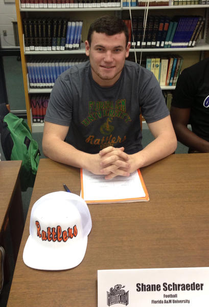 Lake Brantley High School athlete Shane Schraeder signs to play football at Florida A&M University.