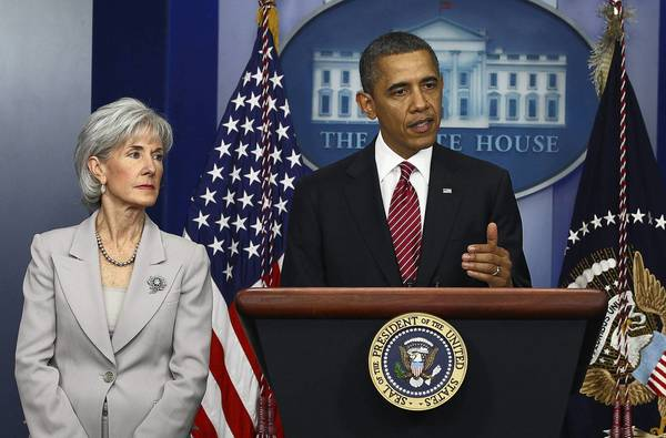 President Barack Obama, with Health and Human Services Secretary Kathleen Sebelius, in February 2012 discuss contracpetion policies in the Affordable Care Act. The Obama administration recently said religious nonprofits would not be required to offer employees health insurance that includes contracpetive benefits. But employees could receive separate, private insurance offering birth control coverage at no cost.