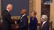 "WASHINGTON — The usually pin-drop-quiet Senate gallery erupted in applause Thursday after William ""Mo"" Cowan was sworn in as the newest senator from Massachusetts."