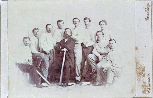 A rare 1865 baseball card showing the Brooklyn Atlantics baseball team. The card was discovered at a Maine yard sale and is considered one of the first baseball cards ever produced.