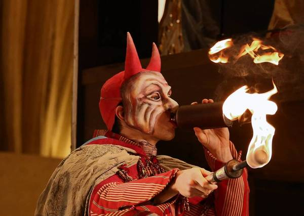 "Actor Wesley Daniel about to shoot fire during a dress rehearsal of Lyric Opera of Chicago's Wagner's ""Die Meistersinger von Nurnberg"" at the Civic Opera House Monday."