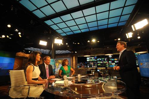 """CBS This Morning"" hosts Norah O'Donnell, left, Charlie Rose and Gayle King on the set with Chris Licht, executive producer of the show."