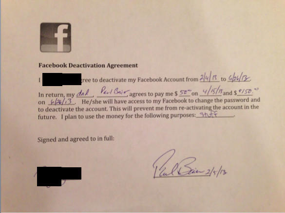 A Boston man has agreed to pay his daughter $200 if she stays off Facebook for five months.