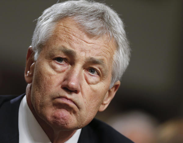 Former Nebraska Sen. Chuck Hagel at his confirmation hearing as secretary of Defense.