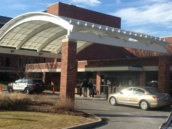 The scene outside Manchester Memorial Hospital on lockdown after a threatening call was received.
