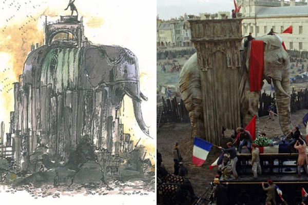 A composite image of a sketch, left, and the actual set of an elephant monument was re-created for the film, based on one that had been erected to celebrate one of Napoleon's victories.