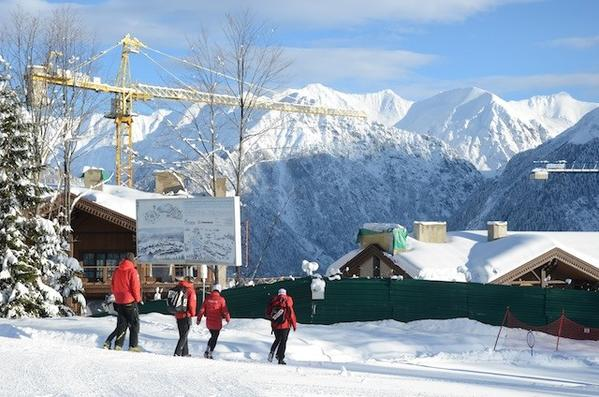 Construction continues at the Laura Cross-Country Ski and Biathlon Center in Krasnaya Polyana, where many events of the 2014 Sochi Olympics will be held.