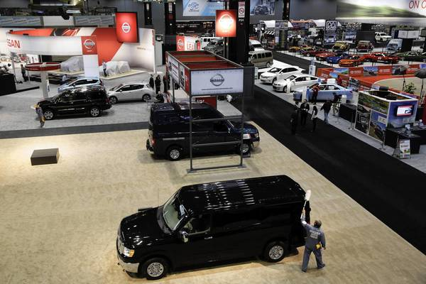 A Nissan NV Passenger van is dusted at the 105th Chicago Auto Show at McCormick Place.