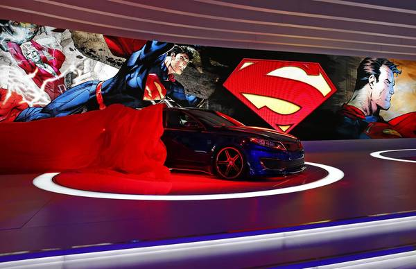 Superman-inspired Kia Optima Hybrid Sedan at the 2013 Chicago Auto Show at McCormick Place in Chicago.