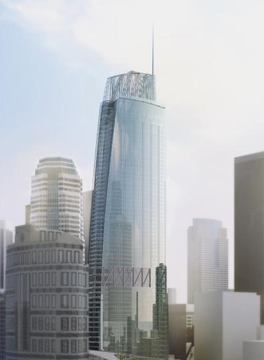 Rendering of the 73-story Wilshire Grand hotel and office building to be constructed in downtown Los Angeles.