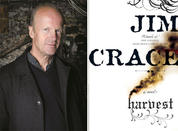 "Author Jim Crace and the cover of his novel, ""Harvest""."