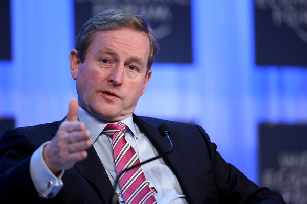 Ireland Prime Minister Enda Kenny speaks during a session of the World Economic Forum in Davos, Switzerland.