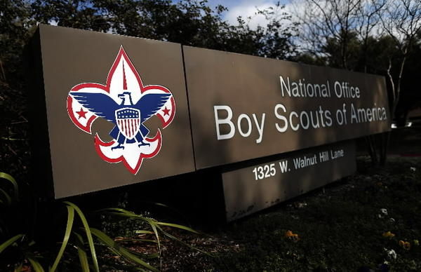A sign for the National Office outside the Boy Scouts of America Headquarters on February 4, 2013 in Irving, Texas.