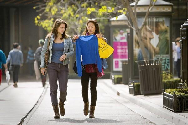 Katarina Hughes, left, of Hollywood and Sarah Wong of Westwood shop at Americana at Brand in Glendale.