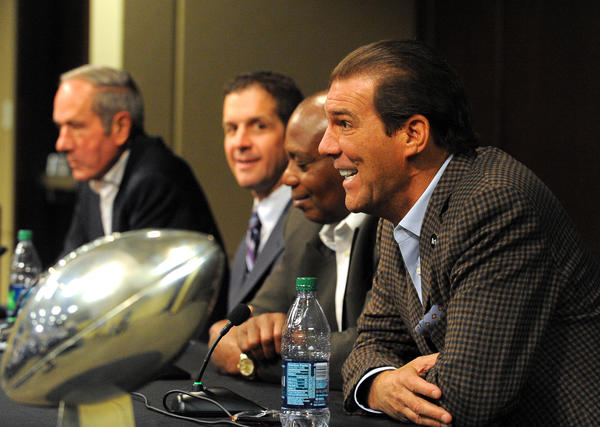 Ravens owner Steve Bisciotti, general manager Ozzie Newsome, coach John Harbaugh and team president Dick Cass hold end of season news conference on Thursday.